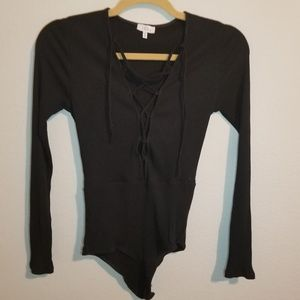 Tobi Long Sleeve Black Bodysuit